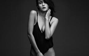 strategic covering, girl, bottomless, portrait, monochrome, no bra