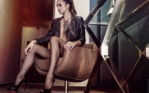 high heels, David Ben Ham, smoky eyes, chair, leather jackets, pantyhose