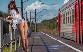 girl, Audrey Pankovna, girl outdoors, smiling, brunette, Audrey