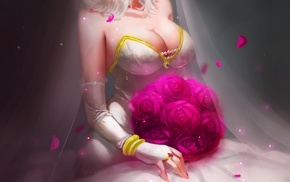 Diana, wedding dress, cleavage, anime girls, League of Legends, dress