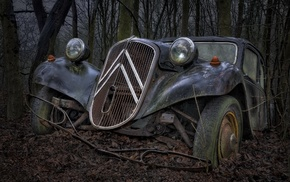 French Cars, wreck, traction avant, Citron, vehicle, car