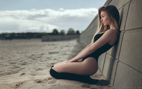 body lingerie, bodysuit, beach, model, kneeling, arched back
