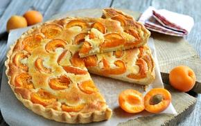 food, dessert, apricots, tart, Flan, cake