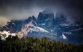 landscape, storm, snow, clouds, dark, forest