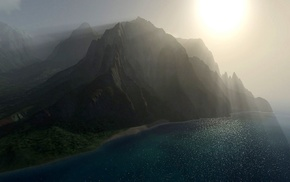 beach, aerial view, mist, CGI, coast, sea