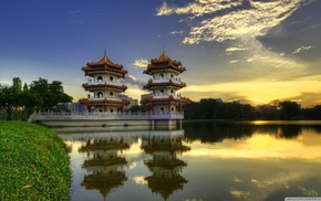 Singapore, pagoda, grass, nature, Sun, water