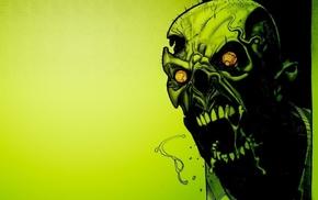 zombies, screaming, green, teeth, digital art, creepy