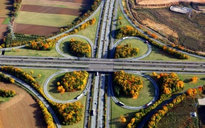 landscape, road, car, intersections