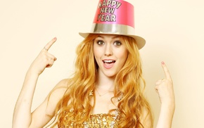 hat, redhead, looking at viewer, celebrity, gold dress, Katherine Mcnamara