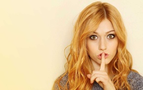 girl, Katherine Mcnamara, celebrity, redhead, finger on lips, looking at viewer