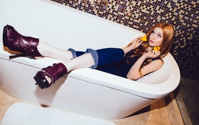 Katherine Mcnamara, redhead, actress, heels, bathtub, looking up