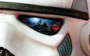 stormtrooper, video games, Star Wars Battlefront, reflection, closeup, battle