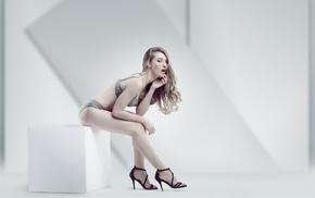 sitting, girl, underwear, high heels, model