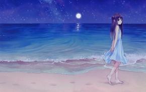 sea, night, anime girls