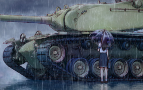 rain, umbrella, tank, M103, anime girls