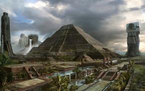 fantasy art, pyramid