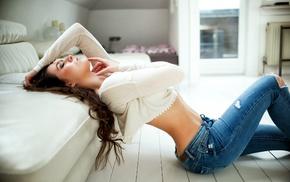Miro Hofmann, girl, torn jeans, ass, brunette, jeans