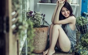 Daisy Dukes, Asian, girl, smiling, flowers, model