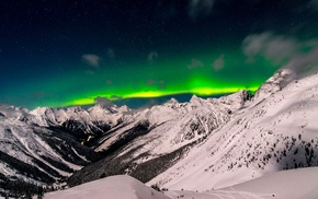 nature, aurorae, British Columbia, mountains