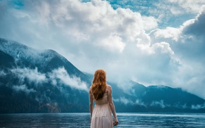 water, mountains, clouds, dress, girl outdoors, lake