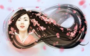 cherry blossom, Asian, flowers, girl, kimono, artwork