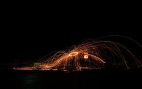 steel wool, long exposure, night
