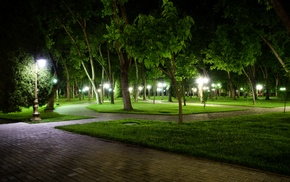 park, night, nature, Uzbekistan, long exposure
