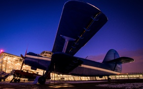 airplane, night, antonov, long exposure