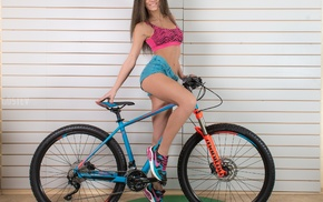 sports bra, sneakers, girl, jean shorts, girl with bicycles, wall