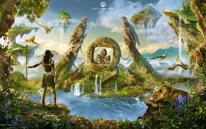 collage, Photoshop, parrot, hawks, plants, stone age