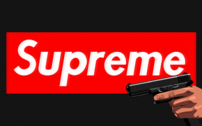 black background, Handgun, red, supreme, Glock