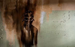 wall, artwork, gas masks