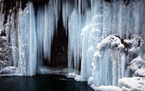 frozen lake, cold, frozen river, waterfall, lake, ice