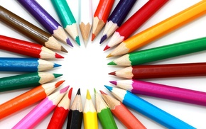 pencils, wood, bright, colorful, circle, pattern