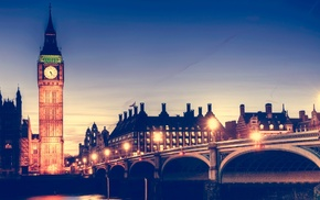 night, river, Westminster, Big Ben, city lights, London