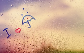 rain, umbrella, love, water drops, window