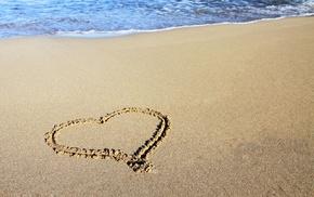 shore, romantic, heart, coast, beach, waves