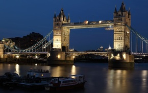 England, River Thames, dark, Tower Bridge, night, city
