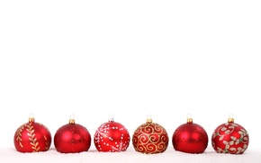 red, decorations, holiday, snow, sphere, white