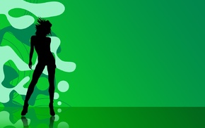 silhouette, girl, green, digital art, dancing, illustration