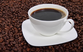 cup, liquid, dark, espresso, brown, coffee beans