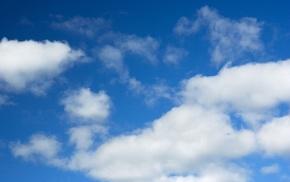 white, clouds, sky, blue