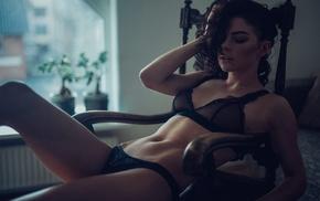 sitting, black lingerie, closed eyes, girl