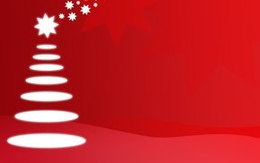 red, trees, stars, drawing, Christmas Tree, illustration