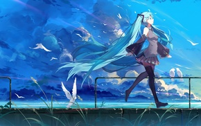 clouds, sky, twintails, birds, water, Hatsune Miku