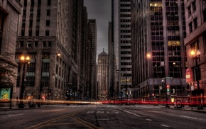 light trails, city