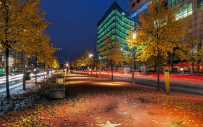 long exposure, street light, fall, Berlin, city