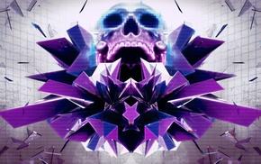pixelated, digital art, skull, abstract, artwork