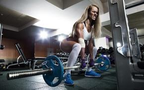 model, long hair, weightlifting, girl, sport, exercising