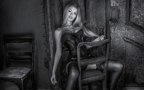 corset, lingerie, chair, model, girl, monochrome
